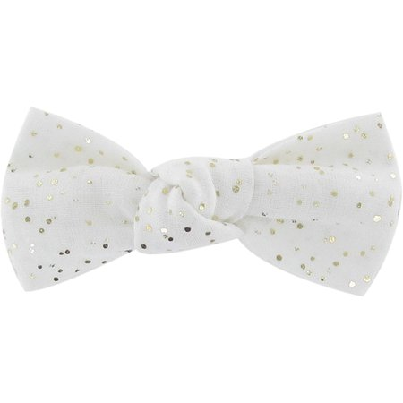 Small bow hair slide white sequined