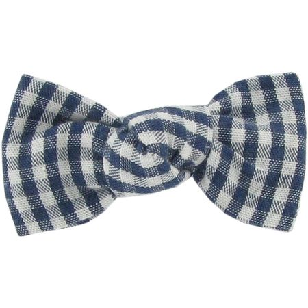 Small bow hair slide navy blue gingham