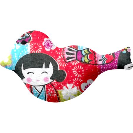 Bird hair slide kokeshis