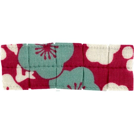 Petite barrette plissée cerisier rubis jade