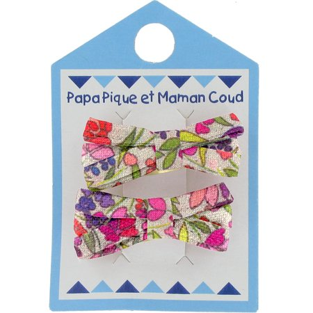 Small ribbons hair clips purple meadow