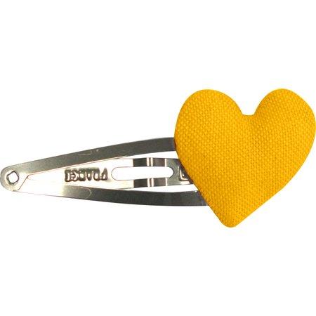 barrette clic-clac cœur jaune ocre