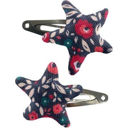 Star hair-clips camelias rubis