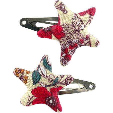Barrettes clic-clac étoile coquelicot