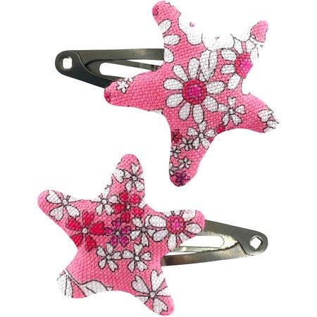 Star hair-clips pink violette