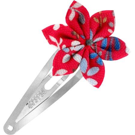 Barrette clic-clac fleur étoile bleuets cherry