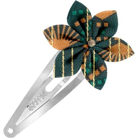 Passador clic clac flor estrella eventail or vert