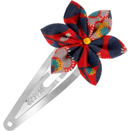 Barrette clic-clac fleur étoile feuillage vermillon