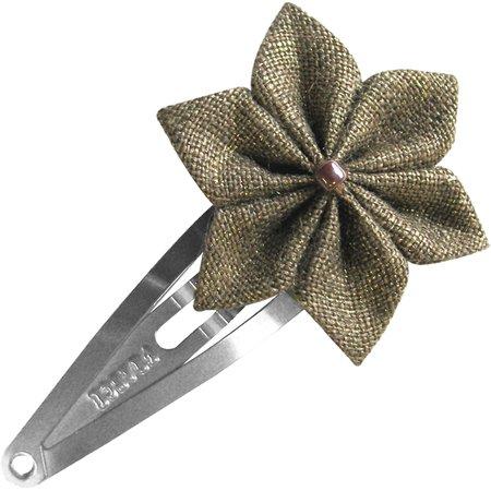 Star flower hairclip gold linen