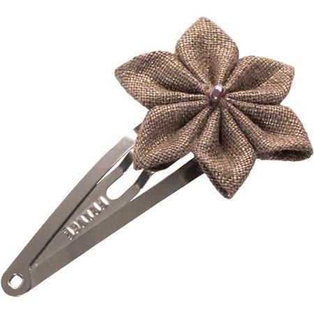 Star flower hairclip copper linen