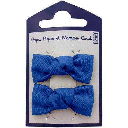 Barrettes clic-clac petits noeuds bleu navy