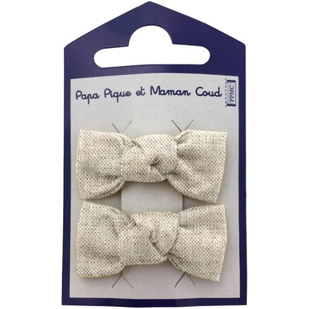 Small bows hair clips  glitter linen
