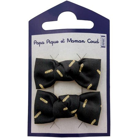 Barrettes clic-clac petits noeuds  paille dorée noir