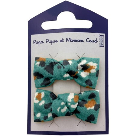 Small bows hair clips jade panther