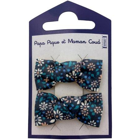Small bows hair clips paquerette marine