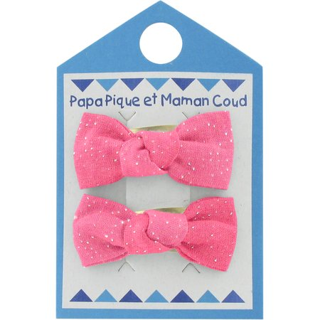 Small bows hair clips glittery pink