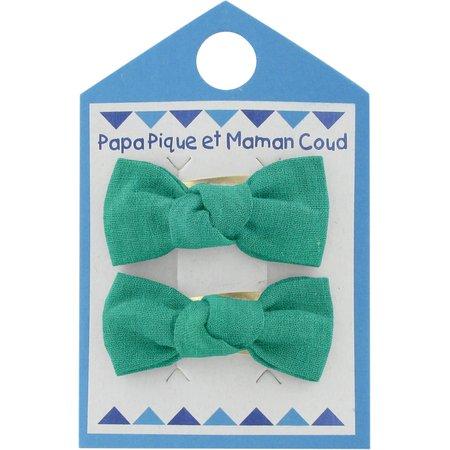 Barrettes clic-clac petits noeuds vert laurier