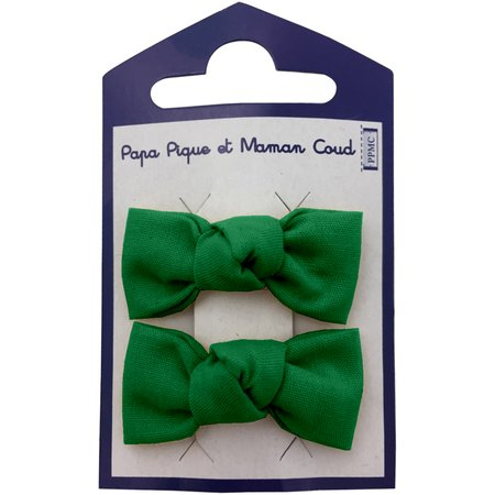 Small bows hair clips bright green