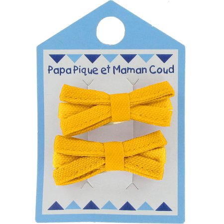 Small ribbons hair clips yellow ochre