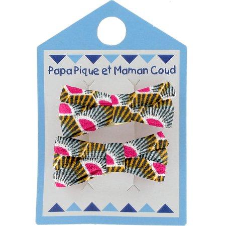 Barrette clic-clac mini ruban palmette