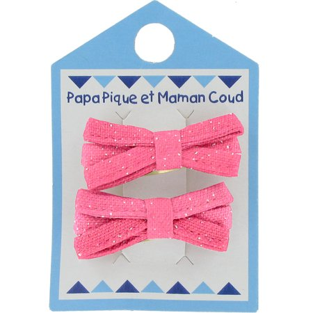 Small ribbons hair clips rose pailleté