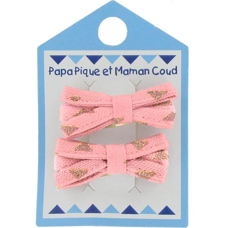 Small ribbons hair clips powdered gold triangle