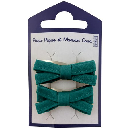 Small ribbons hair clips emerald green