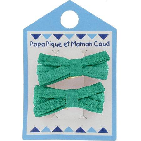 Small ribbons hair clips green laurel
