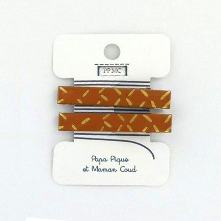 Barrette croco moyenne paille doré caramel cr042