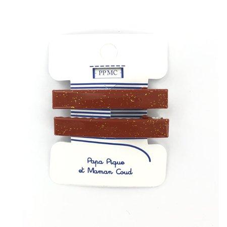 Barrette croco moyenne terracotta pailleté cr048