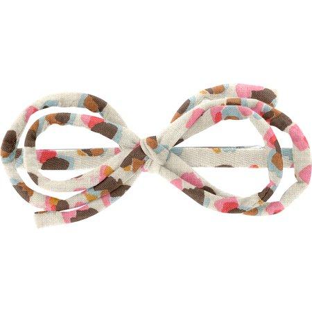 Barrette noeud arabesque confetti aqua