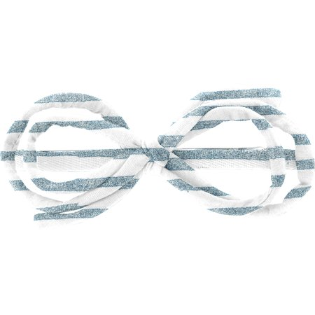 Arabesque bow hair slide striped blue gray glitter