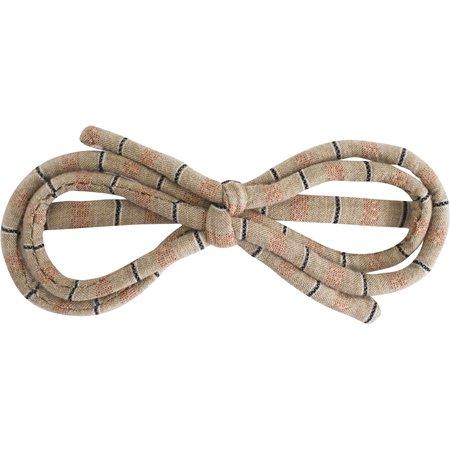 Barrette noeud arabesque rayure bronze cuivrée