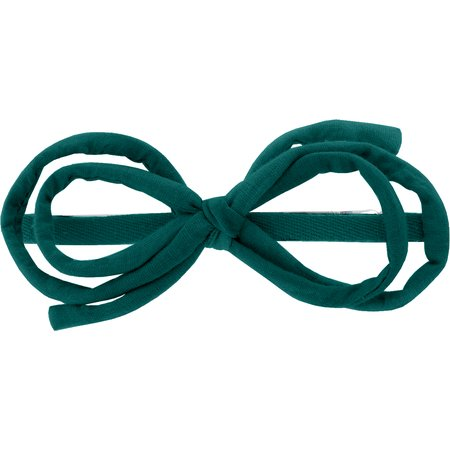 Arabesque bow hair slide emerald green