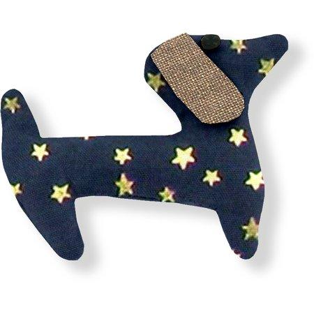 Basset hound hair clip navy gold star