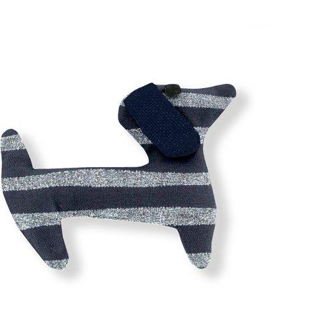 Basset hound hair clip striped silver dark blue