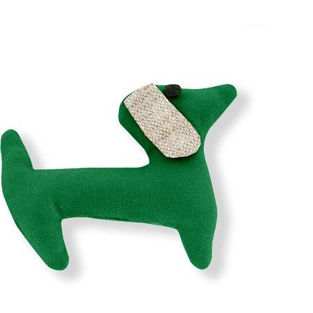Pasador de pelo en forma de perro verde brillante