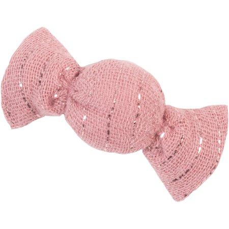Pasador mini caramelo gasa lurex rosa polvoriento