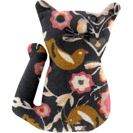Petite barrette chat  oiseau ocre