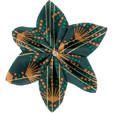 Barrette fleur étoile 4 eventail or vert