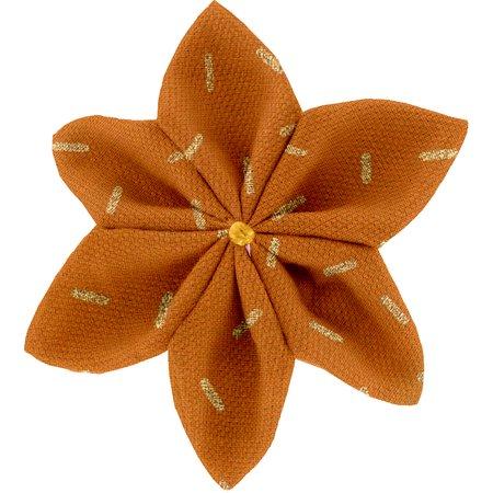 Star flower 4 hairslide caramel golden straw