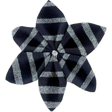Star flower 4 hairslide striped silver dark blue