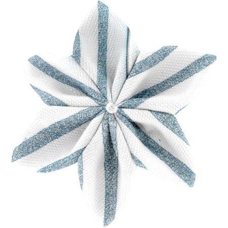 Star flower 4 hairslide striped blue gray glitter