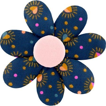 Barrette fleur marguerite  coeur scintillants