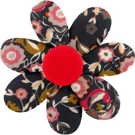 Fabrics flower hair clip ochre bird