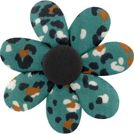 Fabrics flower hair clip jade panther