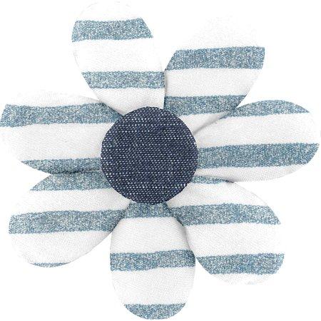 Pasador flor margarita  brillo azul gris a rayas