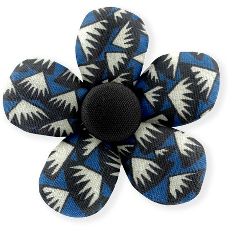 Petite barrette mini-fleur  eclats bleu nuit