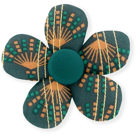 Mini flower hair slide eventail or vert