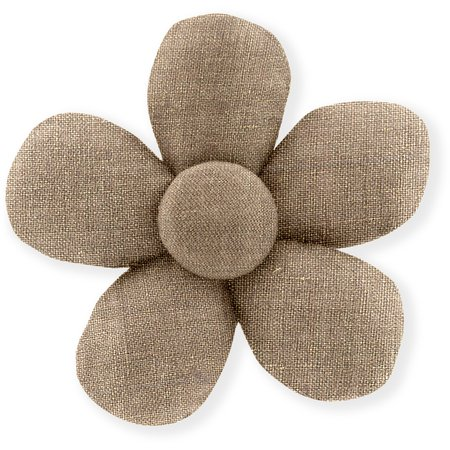 Mini flower hair slide gold linen